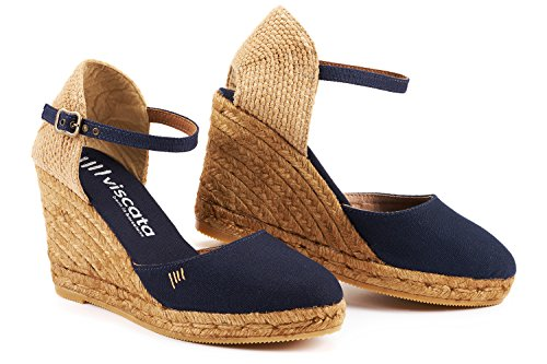 VISCATA Satuna Ankle-Strap, Closed Toe, Classic Espadrilles with 3-inch Heel Made in Spain Bleu Marine