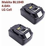 2 Stück 4, 0 Ah Ersatz-Akku BL1830, 18 V Makita BL1840 4000mAh Ersatzbatterie (LG-Zellen)