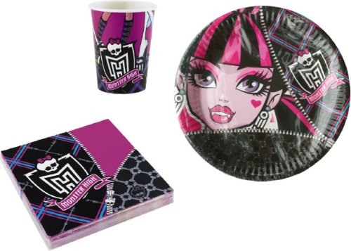 Monster High Partygeschirr Party Set Servietten Becher Teller 36 teilig Kindergeburtstag Deko