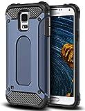 64Gril Kompatibel mit Galaxy S5 Hülle,Samsung S5 Hülle Hybrid Handyhülle Premium Slim Stoßfest Transparent Schutzhülle Backcover für Samsung Galaxy S5 (Blau)