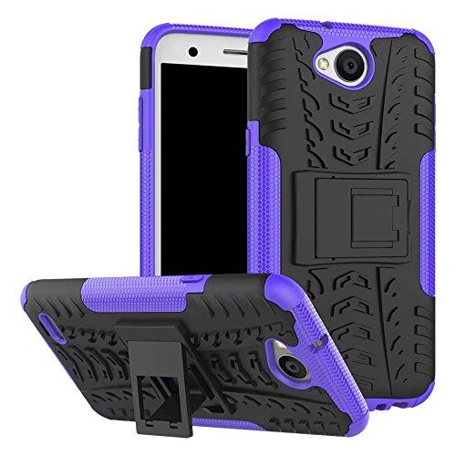 YHUISEN LG X Power 2 Case, Hyun Pattern Dual Layer Hybrid Armor Kickstand 2 In 1 Shockproof Case Cover für LG X Power 2 / LG K10 Power (5,5 Zoll) ( Color : Orange ) Purple