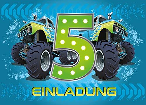 6 Einladungskarten 5. Geburtstag Kinder Junge Monstertruck blau / Monster-Truck / Auto / Einladungen zum fünften Kindergeburtstag für Jungen