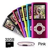 Ueleknight MP3/MP4-Player mit einer 32G Micro SD-Karte, Portable Digital Music Player auch als Sprachaufzeichnung / FM-Radio / Video / E-Book-Reader, 1,8 Zoll LCD-Bildschirm Economic MP3 Player-Rosa