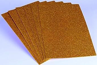 CHIISEN Foam Glitter Sheets A4 Size Golden - 6 Pieces