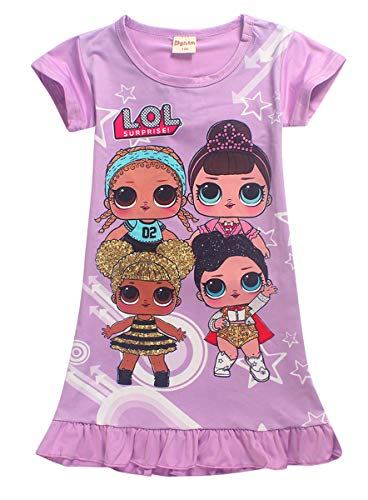 Vannie Lovely Dolls Mädchen Kleider Schlafanzug Nachthemd Locker Prinzessin Rock Schlauch Kleider gutes Geschenk für Mädchen Tochter von 4 bis 10 Jahren PL 130