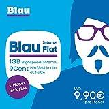 Blau Internet 1GB  [SIM, Micro-SIM und Nano-SIM] ohne Vertragslaufzeit (1 GB Highspeed-Internet,  nur 9 Cent Min./SMS in alle dt. Netze, EU-Vorteil inkl., 1.Monat gratis) E-Plus Netz