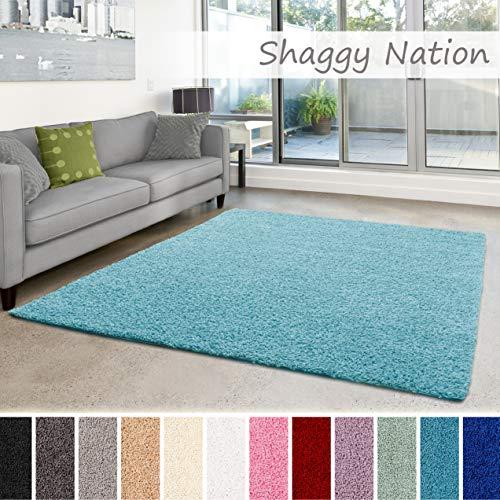 Shaggy-Teppich | Flauschiger Hochflor für Wohnzimmer, Schlafzimmer, Kinderzimmer oder Flur Läufer | einfarbig, schadstoffgeprüft, allergikergeeignet | Türkis - 200 x 250 cm
