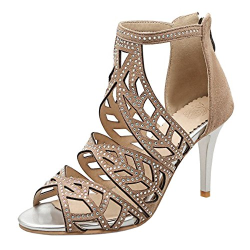COOLCEPT Damen Mode Knochelriemchen Sandalen Stiletto Cut Out Peep Toe Schuhe Mit Zipper Aprikose