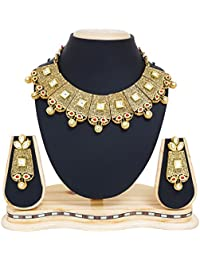 The Luxor Traditonal Gold Plated Choker Kundan Pearl Necklace For Women & Girls -NK-2196