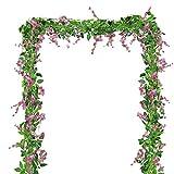 BELLE VOUS Artificiel Glycine Fleurs Guirlande (4 Pièces) - 6.6 ft (200cm) Chaque Vigne - Wisteria Soie Fleurs Vigne Plante pour Deco Mariage, Jardin, Floral Décoration, Mur Deco (Rose)
