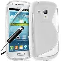 Supergets Wave Hydro Gel Schutzhülle für Samsung Galaxy S3 mini I8190 mit Display Schutz, Reinigungstuch und Mini Stylus farblos