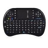 ESYNiC Wireless Tastatur mit Touchpad Maus 2,4Ghz Kabellose Tragbare Handheld Tastatur Multimedia Tastatur mit deutschem Tastaturlayout Hintergrundbeleuchtung und eingebaute wiederaufladbare Batterie für Google Android Smart TV Box Raspberry PI TV Box XBOX PS3 HTPC IPTV - Schwarz