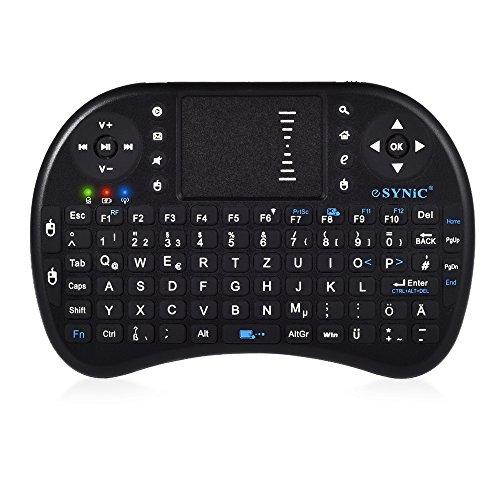 2,4Ghz Mini Hintergrundbeleuchtung Funktastatur mit Touchpad Maus Wireless Tragbare Handheld Multimedia Tastatur mit QWERTZ Tastaturlayout und eingebaute wiederaufladbare Batterie für Google Android Smart TV Box Raspberry PI TV Box XBOX PS3 HTPC IPTV - Schwarz
