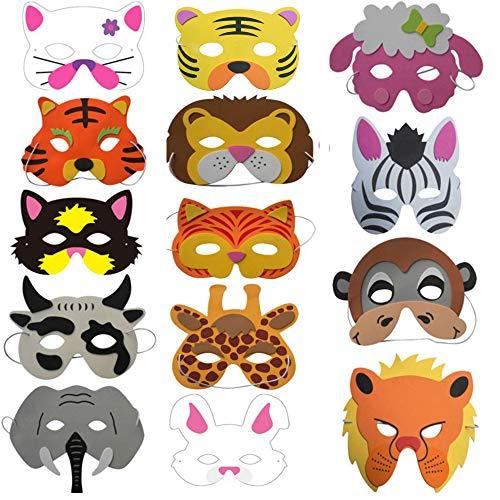 Deer Platz Kindermasken,14 Hübsche Niedliche Tiermasken Sind EIN Lieblingsspielzeug Für Alle Kinder, Geeignet Für Kinder, Weihnachten, Halloween, Party, Geburtstag, Cosplay (Stil Zufällige)