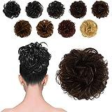 BARSDAR 100% Human Hair Scrunchies (4# Brown) Curly Messy Hair Bun Extensions Wedding Hair Pieces for Women Kids Hair Updo Donut Chignons