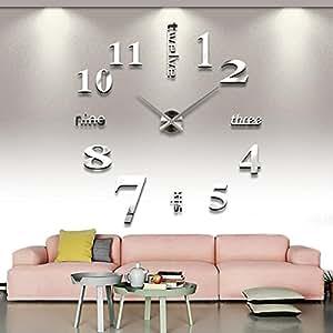 Yesurprise Pendule murale Moderne DIY Argenté métallique Décoration mural 12S015-S