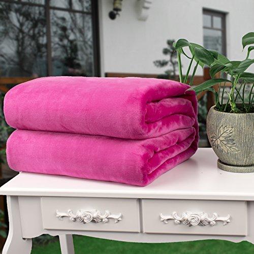 MAOMAOTAN Flanell-Klima-Decke, Flanell, Einfarbig, Yoga-Abdeckung, Massage-Büro Sofa-Decke, Violette Rose, 150 * 200CM