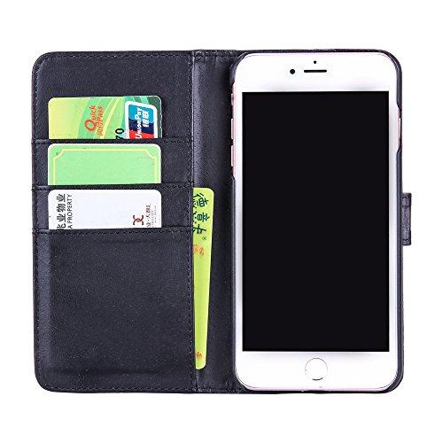 Coque iPhone 7, Aohro Housse Etui Cuir Portefeuille de Protection Flip Folio Wallet Case Cover avec Fonction Support et Fermeture Aimanté pour iPhone 7 (4,7 pouces) - Blanc Noir