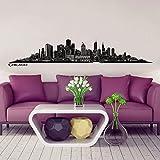 Wandkings Skyline - Poster adesivo da parete nero La Tua Città a scelta, vinilico, Nero, Chicago