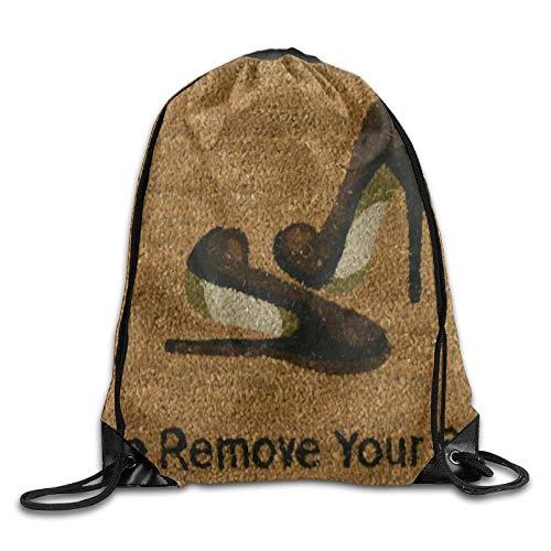 Etryrt Prämie Turnbeutel/Sportbeutel, Please Remove Your Shoes Unisex Outdoor Rucksack Shoulder Bag Sport Drawstring Backpack Bag