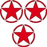 GreenIT 3 stück Sterne 7cm rot USA US Army MP Auto Tuning Aufkleber Tattoo die cut Deko Folie