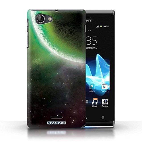 Kobalt® Imprimé Etui / Coque pour Sony Xperia J (ST26i) / Planète Verte conception / Série Cosmos Éclipse Vert