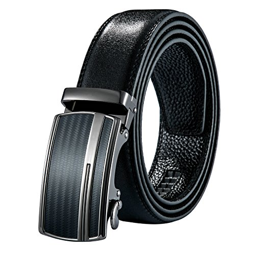 4UGoods Mens Automatic Buckle Leather Belt - Ratchet Slide Holess Long 52