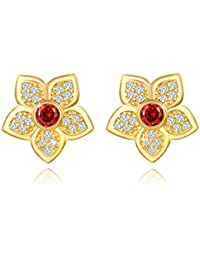 Yellow Chimes Designer Floral 18K Gold Plated Swiss Cubic Zircon Earrings For Women And Girls