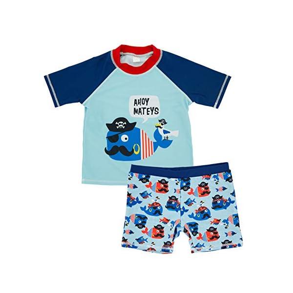 Traje de Baño para Niño Niña Bebé 2 Piezas Caricatura Impreso Manga Corta Trajes de Baño Bañador de natación Niños Buceo… 1