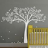 Vinyl Baum Wandtattoo Baum Wandaufkleber Fall-Baum-Wand-Dekor-Baumschulen-Wand-Abziehbild-Baby-Kinderzimmer-Kunst-Dekor (Large,Weiß)
