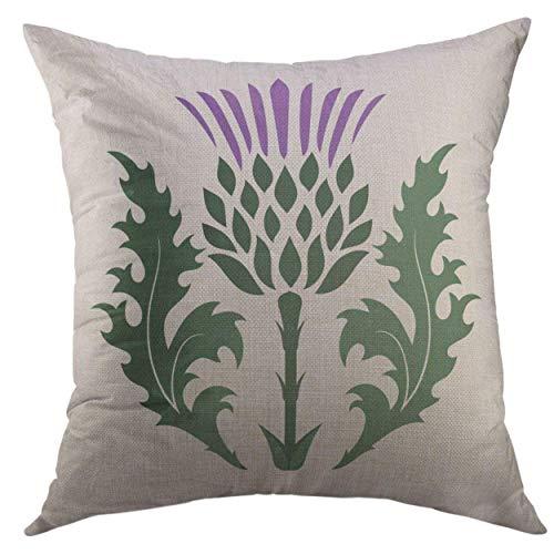 Kissenbezug Pillow Cover Green Blossom Thistle Onopordum Acanthium Scottish White Purple Branch Britain Home Decorative Square Throw Pillow Cushion Cover Purple Thistle