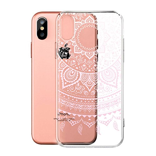 Coque pour Apple iPhone X (5,8 pouces) ,ZXLZKQ Art Fleur Blanc Transparent Premium Housse Souple TPU Case Etui Silicone Back Bumper Cover pour Apple iPhone X (5,8 pouces) WM86