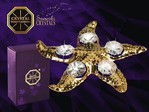 Swarovski Components-CRYSTAL TEMPTATIONS-Star Fish in oro con Swarovski Cristalli-24carati placcata-antiappannante-dimensioni: 9cm x 9cm-Das ideale il regalo ideale per nascita, battesimo, comunione, cresima, compleanno, battesimo, San Valentino, Anniversario, Pasqua, Natale-per bambini, amica, moglie, Madre-come pensierino, ATTENZIONE, sorpresa, grazie, Gruss-un regalo, sempre bene ankommt.