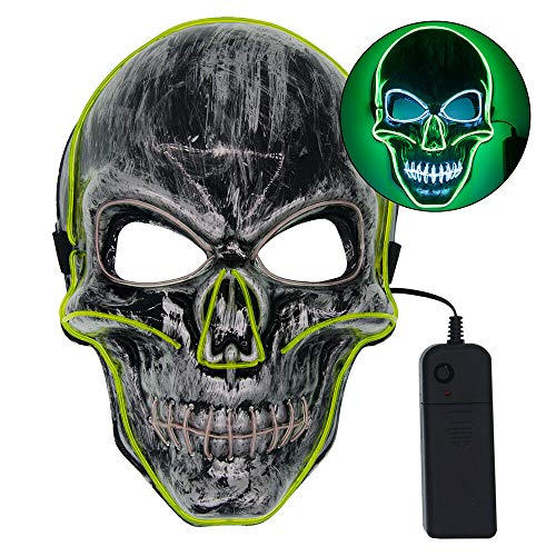 Glow Kostüm Partys - LARRY-X Halloween Skeleton LED Maske Glow Scary Grimace Cosplay Masken für Halloween Rave Party Glow Mask Kostüm