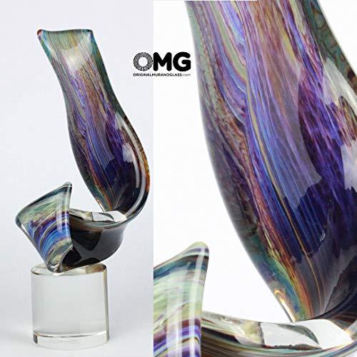 Murano-skulptur (ORIGINAL MURANO GLASS OMG Murano Glas Strip Wind Skulptur in Calcedony von Tagliapietra)