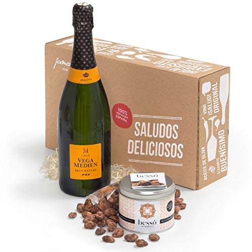 Süße Verführung aus Mallorca | Geschenk-Box mit edlem Cava und köstlichen Mandeln mit Orangen und Schokolade aus Mallorca | Liebevoll verpackt in der Leckere-Grüße-Geschenk-Box