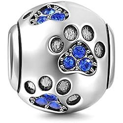 Huella de perro encanto 925plata de ley huella encanto Animal Encanto ideal para cumpleaños mascota encanto para pandora Pulsera azul