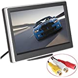 BW 5 Inch HD TFT LCD Car Monitor with Two Video Input, High -resolution 800*480 Car Rearview Reversing Parking Monitor and Full Color LCD Backlight Display for Car Rear View Cameras/Car DVD/VCD/GPS/other Video Equipment
