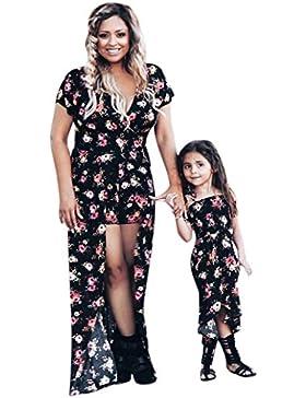 Vestiti Donna Estivi Lunghi,Mamma & Me Signora Donne Stampa Floreale Sundress Slim Dress Abiti Bambina Eleganti...