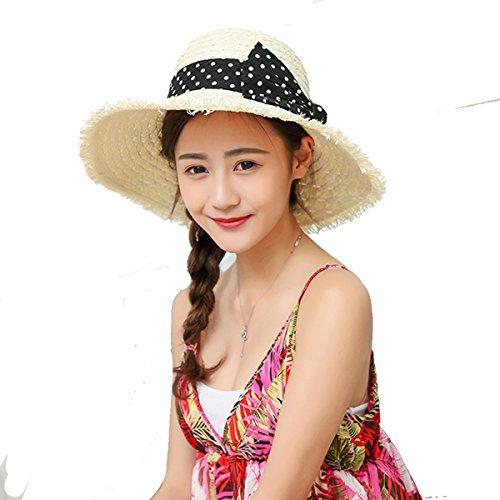 Butterme Damen Raffia Straw Hat klappbare Kappe flexible Sommer Strand Sonne Hüte With Point Bowkot Band (Milch weiß) (Hut Raffia Damen)