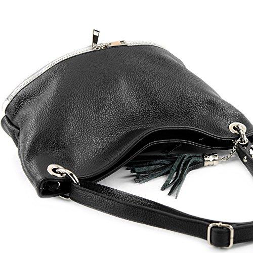 modamoda de - ital. Ledertasche Damentasche Umhängetasche Tasche Schultertasche Leder T143 Schwarz/Weiß