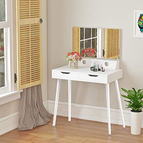 Panana Anaelle Coiffeuse Moderne Table de Maquillage en MDF, 2 Grandes Tiroirs et Miroir Rectangulaire pour Chambre, Taille: 85 x 40 x 131 cm, Blanc