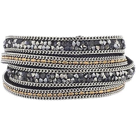 Lux accessori Grigio e ematite con catena bracciale