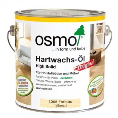 Osmo Hartwachs-Öl Original 3065 Farblos Halbmatt 2,5 Liter