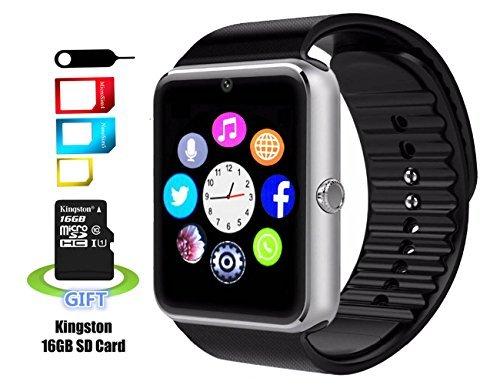 Smart reloj señora largo YG8Bluetooth a prueba de sudor muñeca reloj inteligente con pantalla táctil/llamadas de manos libres/cámara/anti-lost/recordatorio de llamadas para Android incluye 16G tarjeta SD (plata)