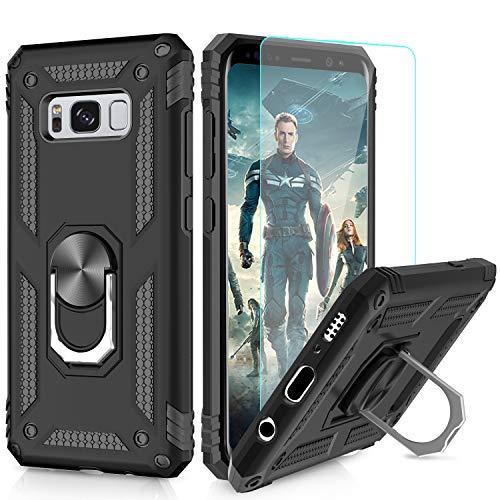LeYi Hülle Galaxy S8 Plus Handyhülle,360 Grad Drehbar Ringhalter Cover TPU Magnetische Bumper Schutzhülle mit HD Folie Schutzfolie für Case Samsung Galaxy S8 Plus/Galaxy S8+ Handy Hüllen Schwarz