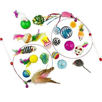 Clever griffes jouet pour chat Lot de différents, 20pièces Y Compris, souris, balles, cloches, plumes et baguettes