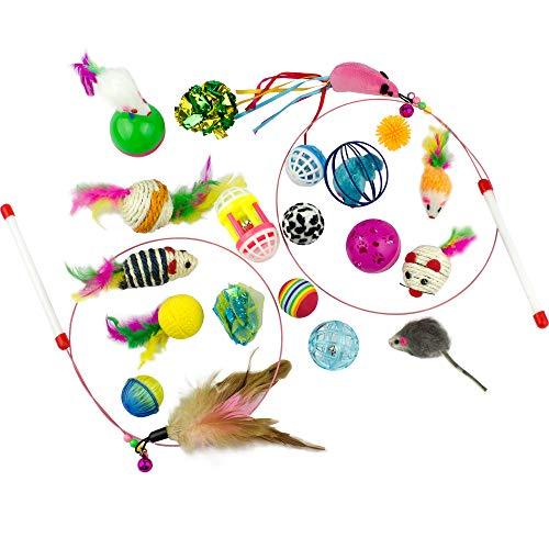 Clever Krallen Katze Spielzeug Variety Pack, 20Stück inkl. Mäuse, Kugeln, Glocken, Federn und Reinigungsstäbe