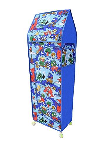 LookNSnap Multipurpose Toy Box Kids Folding Wardrobe (Jungle) - 5 Shelves - Blue