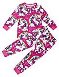 AIDEAONE Mädchen Jungen Weihnachtspyjamas Regenbogen Einhorn Muster 2 Stück Loungewear Baumwolle Nachtwäsche 2-11 Jahre